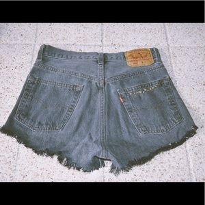 Levi's black fringe high wasted  shorts
